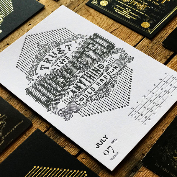 2019 letterpress calendar Artist's proof 07 - MR CUP