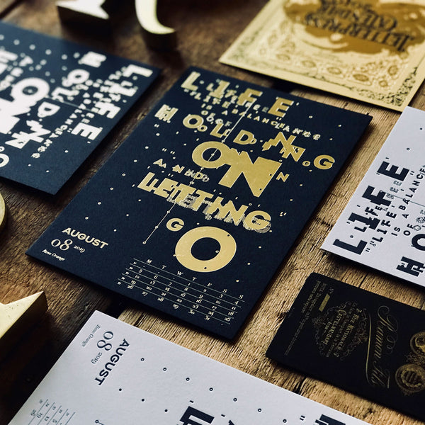 2019 letterpress calendar Artist's proof 08 - hot foil - MR CUP