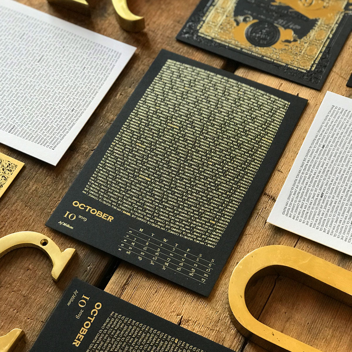 2019 letterpress calendar Artist's proof 10 - hot foil - MR CUP
