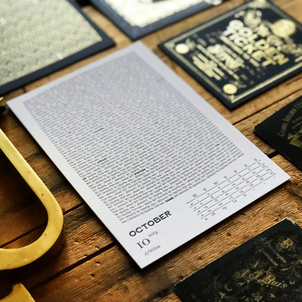2019 letterpress calendar Artist's proof 10 - MR CUP