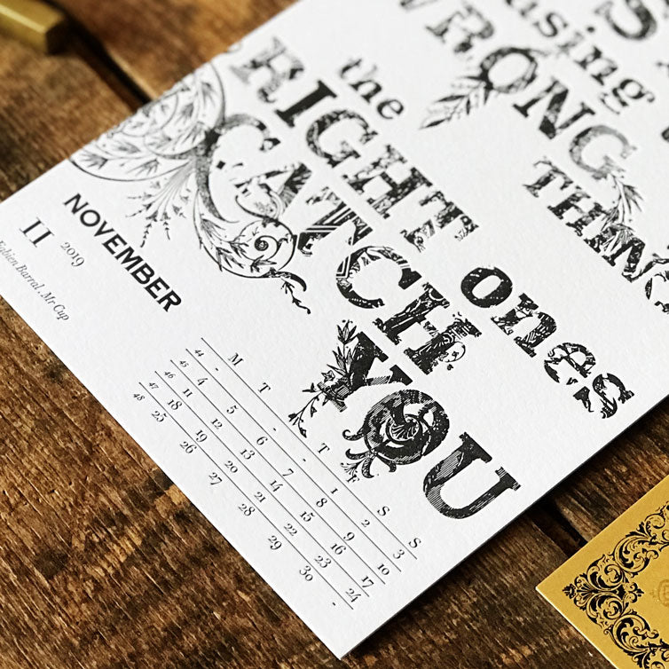 2019 letterpress calendar Artist's proof 11 - MR CUP