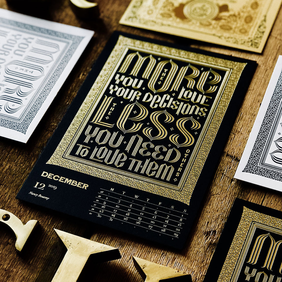 2019 letterpress calendar Artist's proof 12 - hot foil - MR CUP