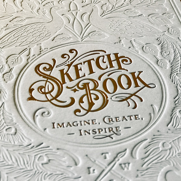 Letterpress Sketchbook - White & gold