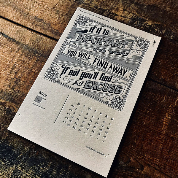 2017 letterpress calendar Artist's proof 05 - MR CUP