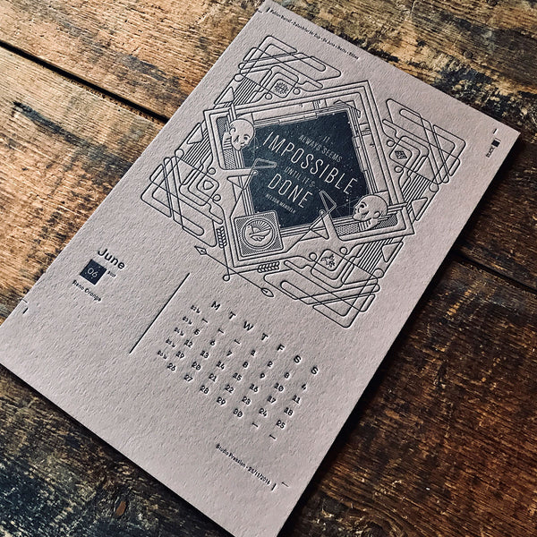 2017 letterpress calendar Artist's proof 06 - MR CUP