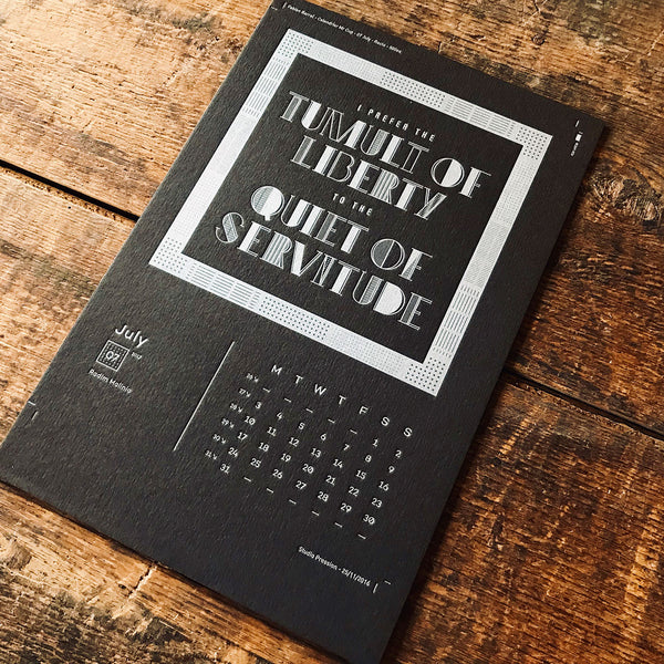 2017 letterpress calendar Artist's proof 07 - MR CUP