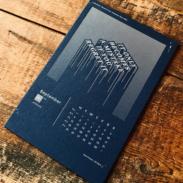 2017 letterpress calendar Artist's proof 09 - MR CUP