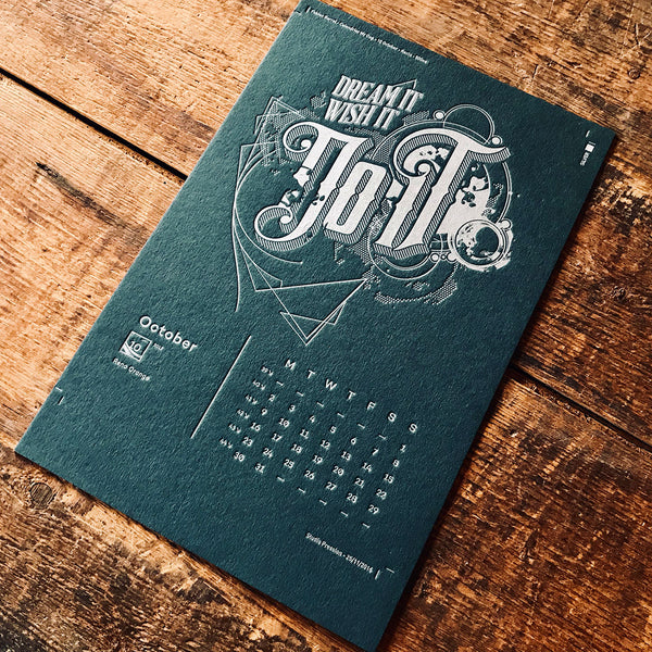 2017 letterpress calendar Artist's proof 10 - MR CUP