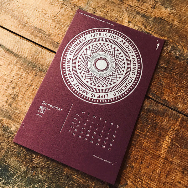2017 letterpress calendar Artist's proof 12 - MR CUP