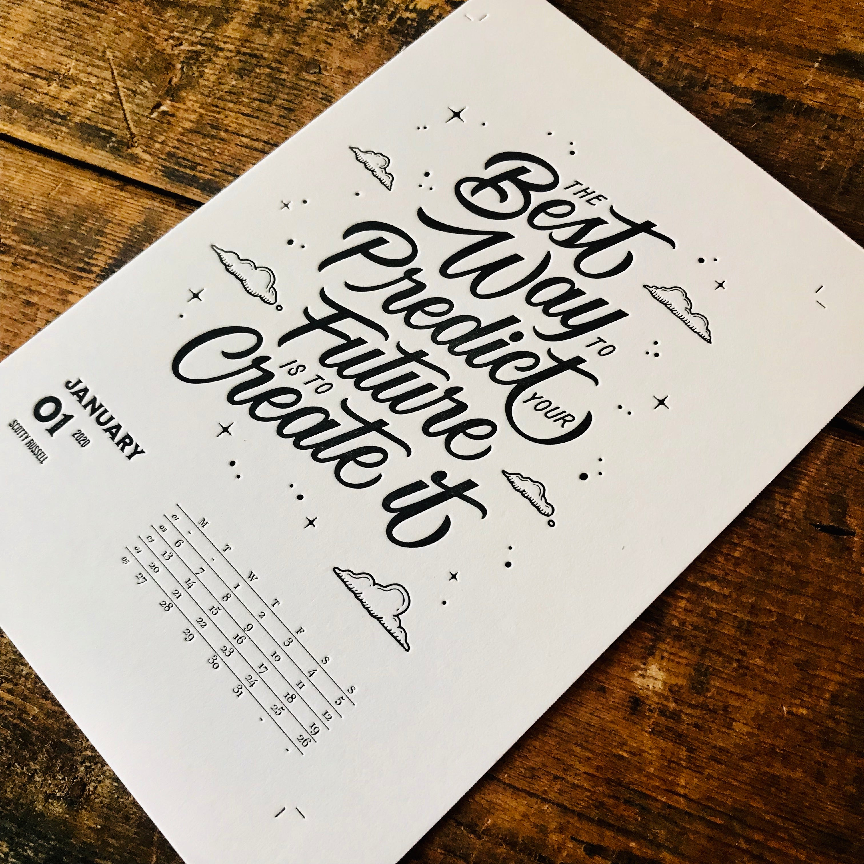 2020 letterpress calendar Artist's proof 01 - MR CUP