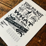 2020 letterpress calendar Artist's proof 02 - MR CUP