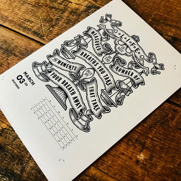 2020 letterpress calendar Artist's proof 03 - MR CUP