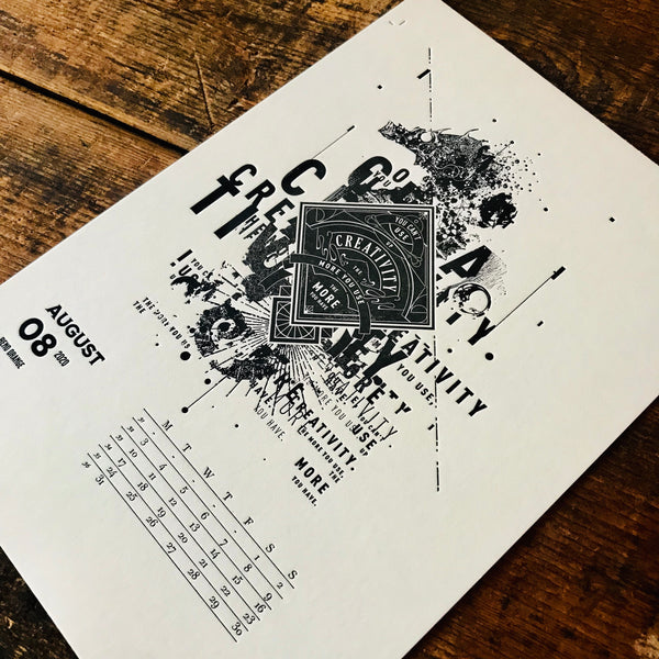 2020 letterpress calendar Artist's proof 08 - MR CUP