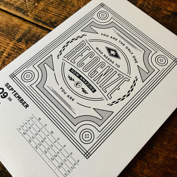 2020 letterpress calendar Artist's proof 09 - MR CUP