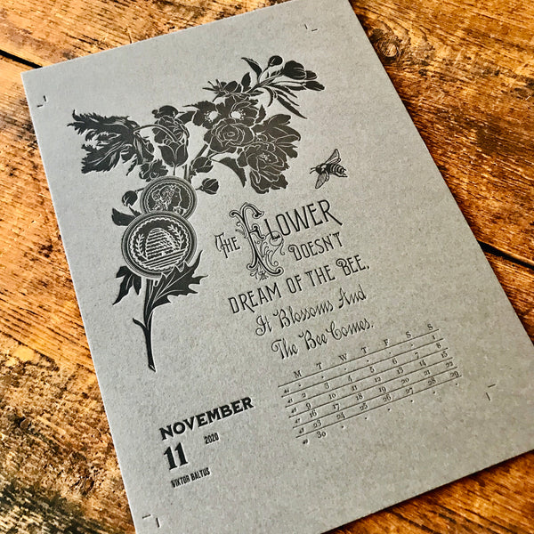 2020 letterpress calendar Artist's proof 11 - MR CUP
