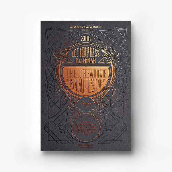 <h7>SOLD-OUT</h7><br>2016 Letterpress calendar copperplate edition