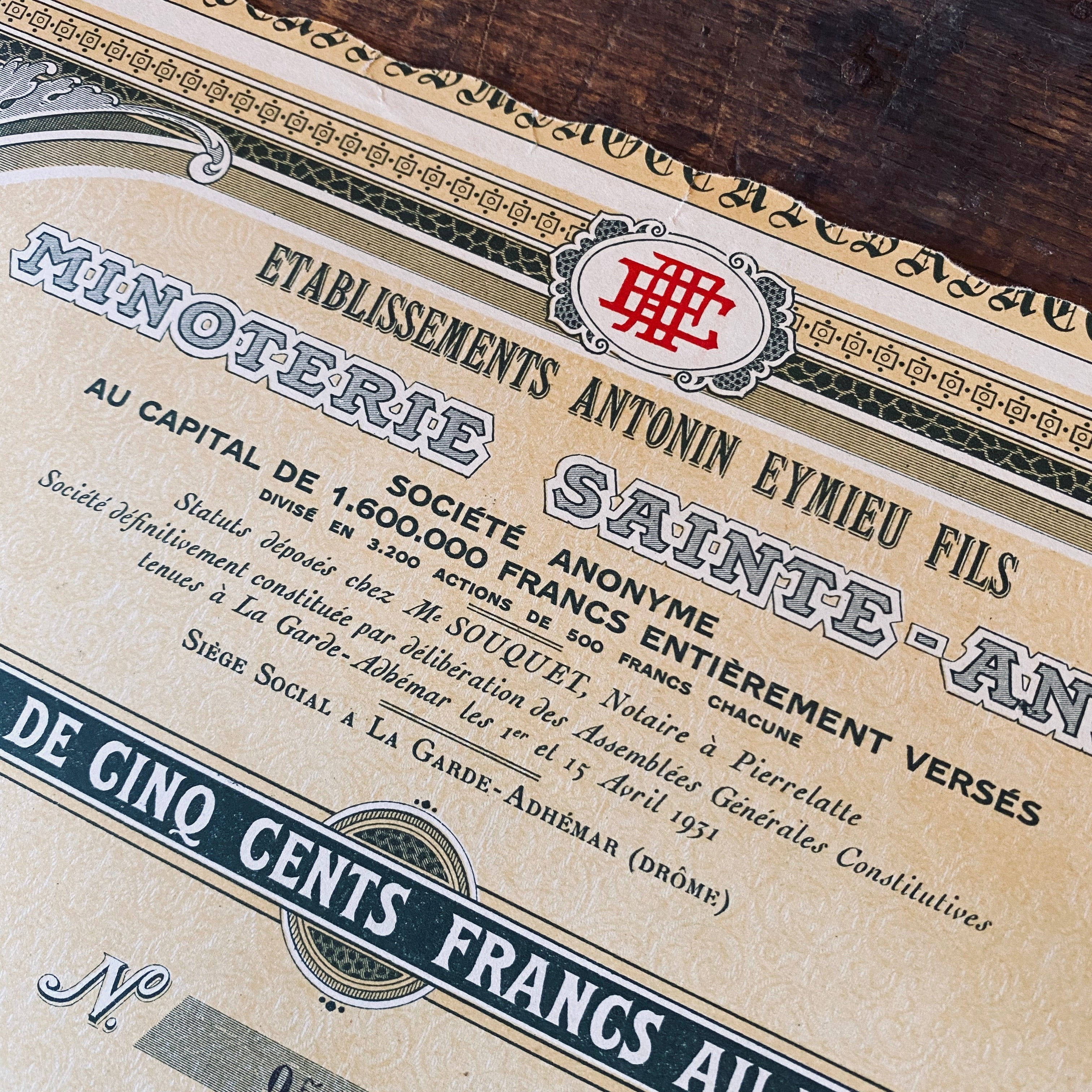 Minoterie Saint Anne - Vintage share certificate - 1931