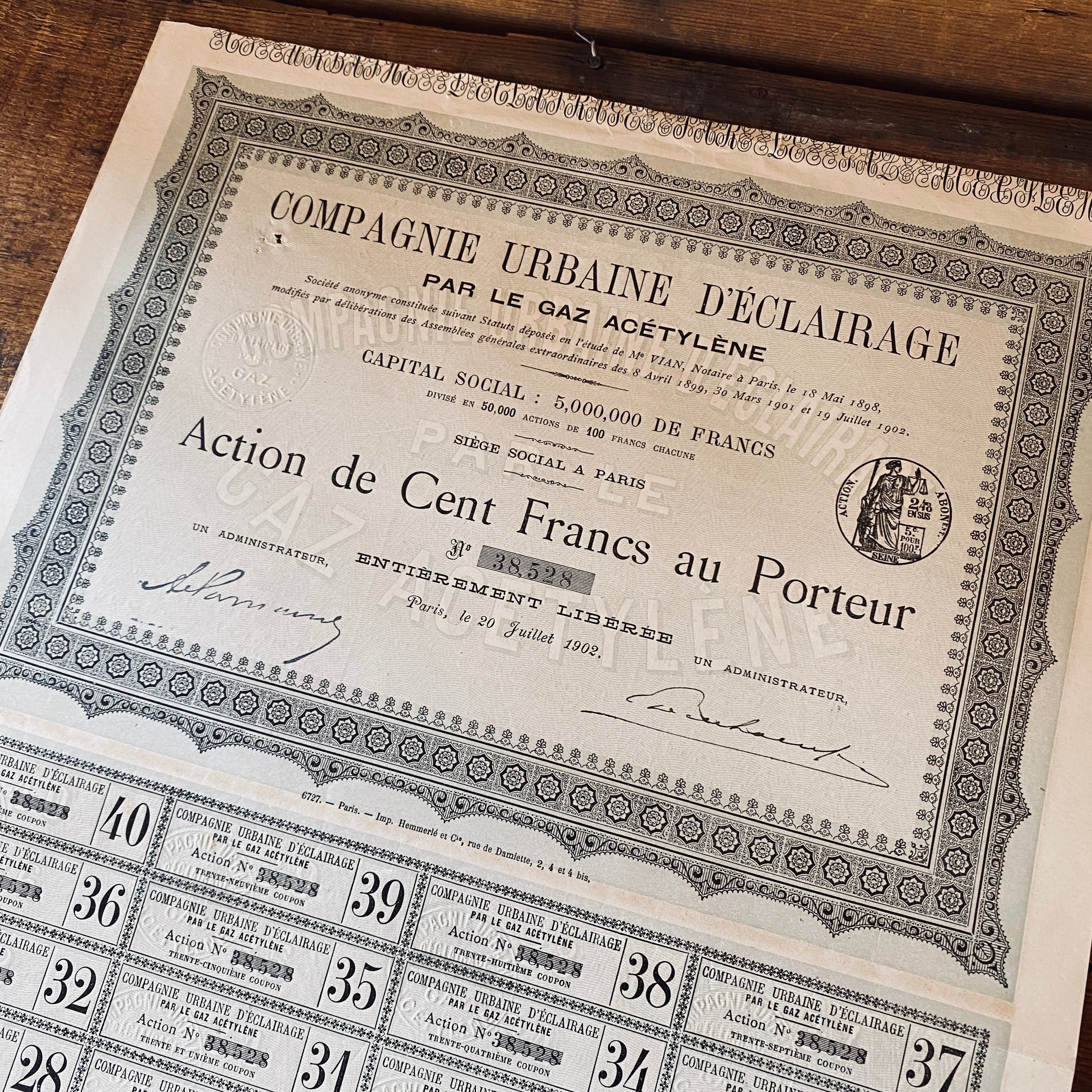 Compagnie urbaines deéclairage - Vintage share certificate - 1902