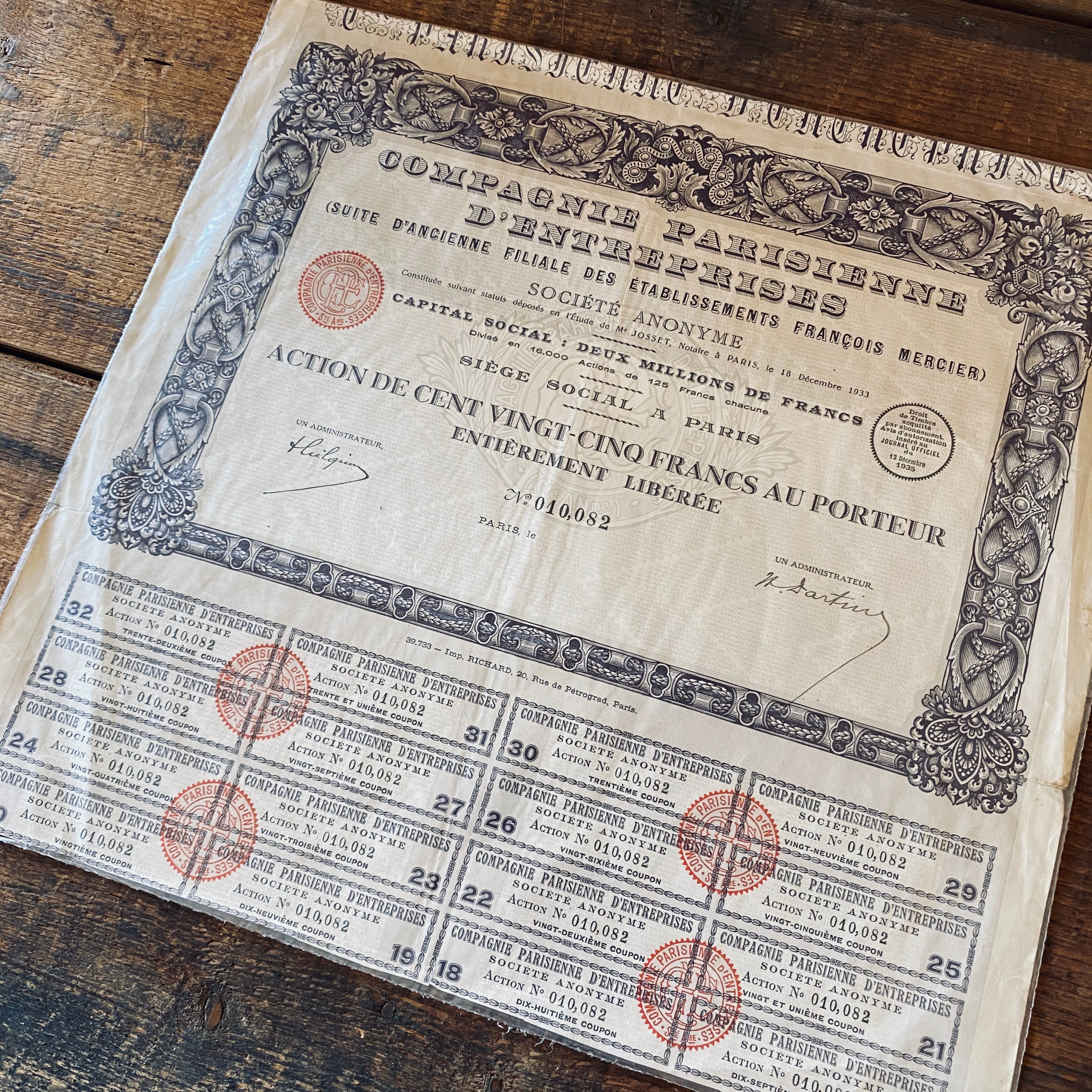Compagnie Parisienne - Vintage share certificate - 1933