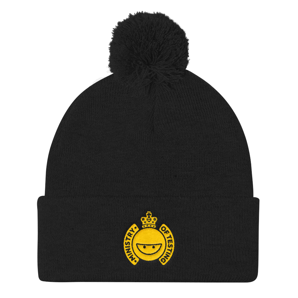 Ministry of Testing Pom-Pom / Bobble Hat - Gold Logo