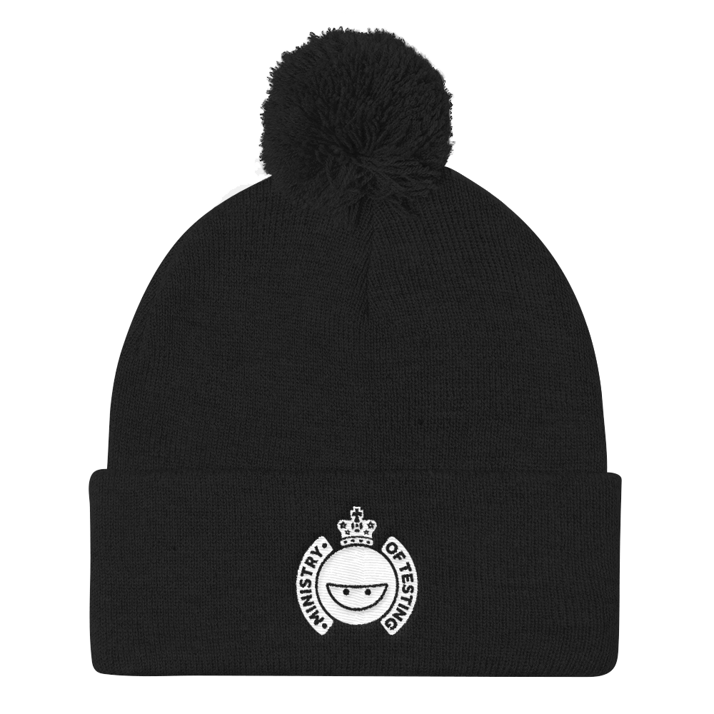 Ministry of Testing Pom-Pom / Bobble Hat - White Logo