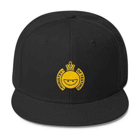 Ministry of Testing Snapback Cap - Gold Logo