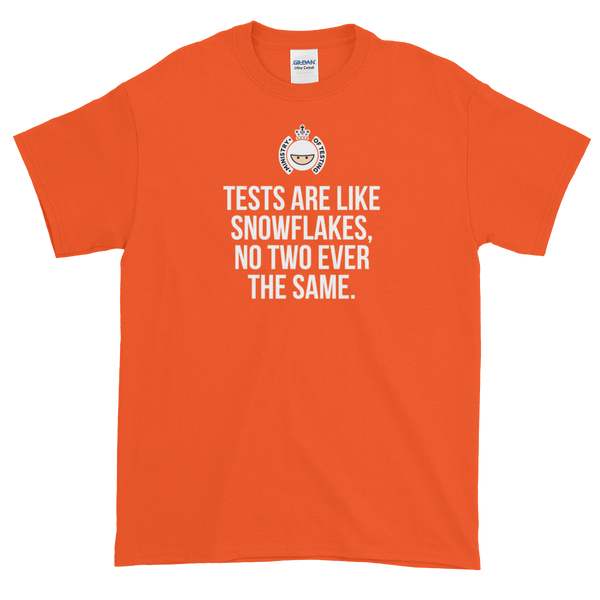 T-Shirt - Quotes - Tests are like Snowflakes + Logo - Men's