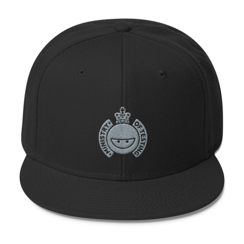 Ministry of Testing Snapback Cap - Silver Logo