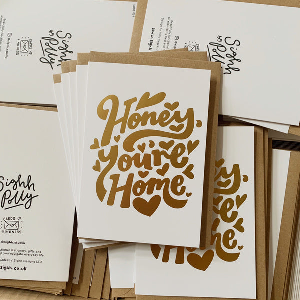 Honey You're Home Greetings Card
