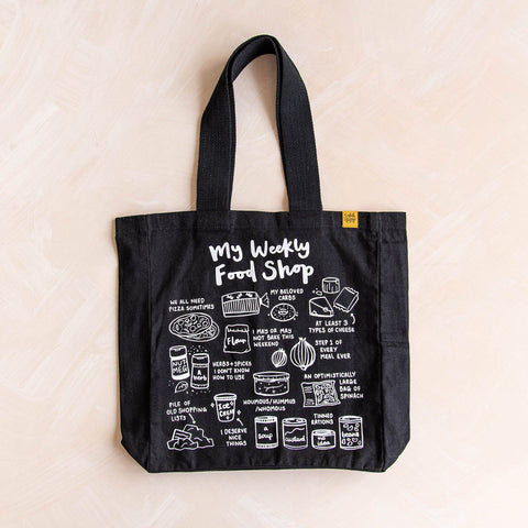 My Weekly Food Shop Tote Bag Tote bag sighh Black