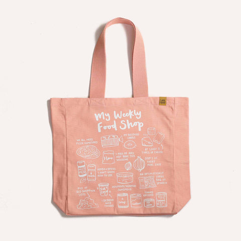 My Weekly Food Shop Tote Bag Tote bag sighh Pink