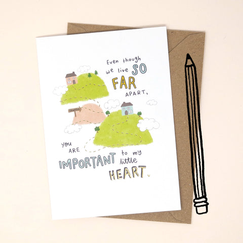 Far Apart Greetings Card