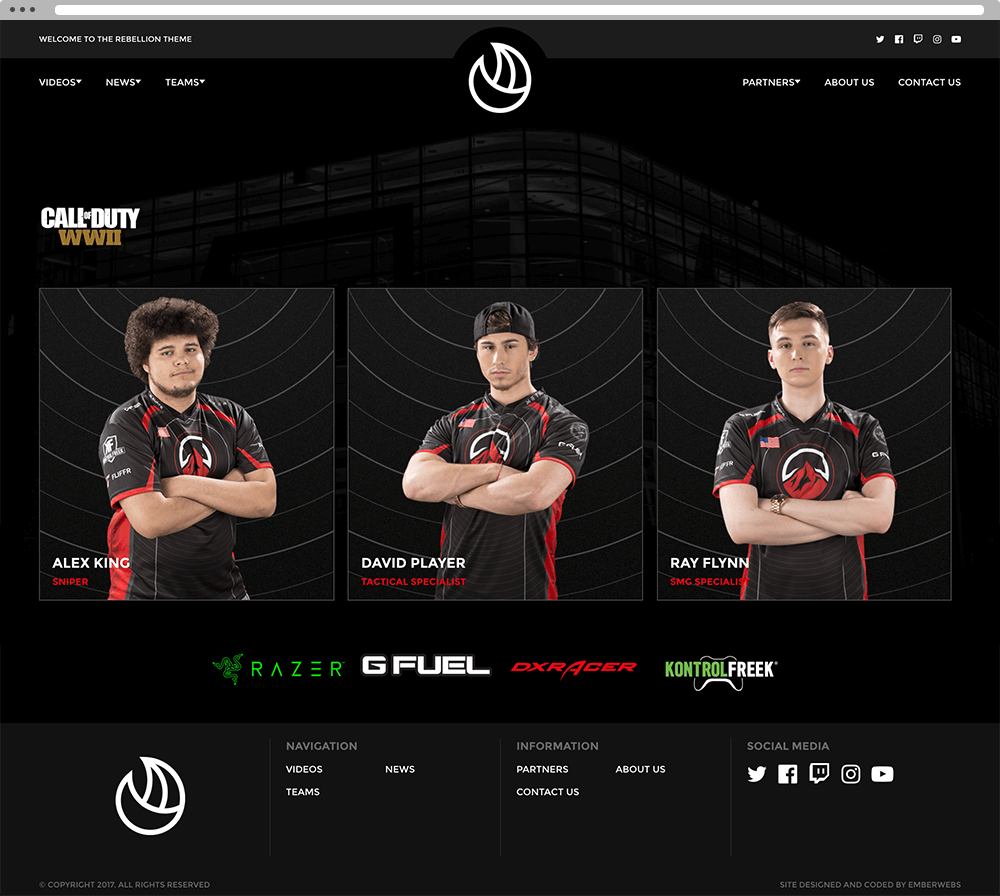 Rebellion Theme - Customizable Esports Website
