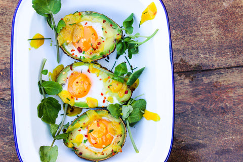 banana ketchup baked eggs in avocado