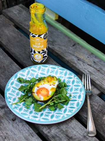 top banana ketchup baked eggs in avocado