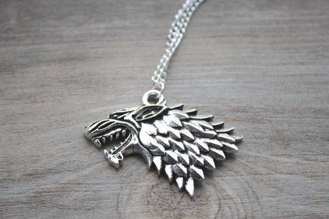 Stark Wolf Necklace, Silver tone