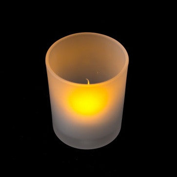 "battery tea light in frosted glass holder 2.5"" single illuminated"