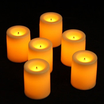 Candle Impressions Wax Covered Battery Candles Votive (6 Pack) illuminated