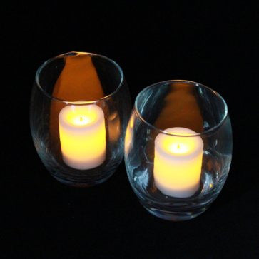 3.5'' Hurricane Clear Glass Holder with 1.75'' Wax Covered Votives (2 Pack) illuminated