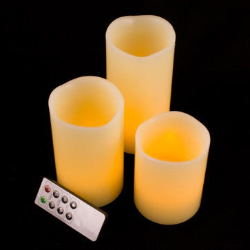 remote control battery candle pillars 3 pack illuminated