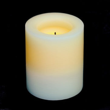 "premium candle impressons 4"" unscented round cream battery pillar illuminated"