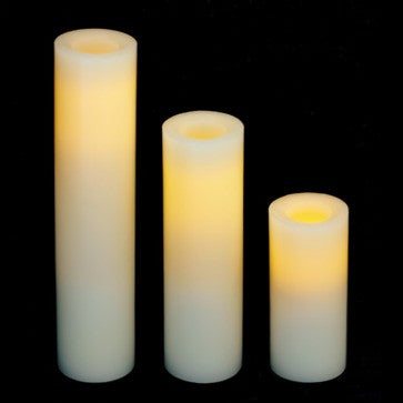 slim wax pillar battery candles with timer (3 pack) illuminated
