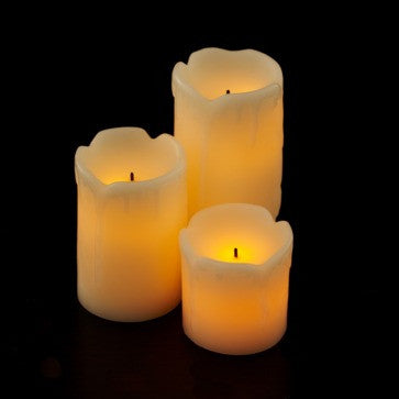 3 pack battery candle impressions mini melted wax pillars illuminated