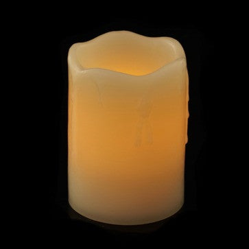 "4"" battery candle impressions wax drip pillar with timer illuminated"