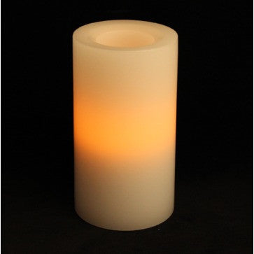 "premium battery candle impressions 6"" unscented white with timer illuminated"