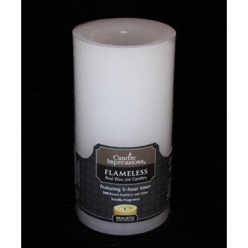 Candle Impressions Premium Round with 5 Hour Timer, White