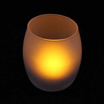 Image of 3.5'' Hurricane Candle Glass Holder (Frosted) at full illumination