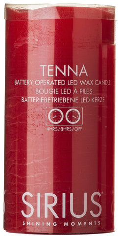 Tenna Real Wax Rustic Pillar with 4/8 Hour Timer, Scarlet (3 sizes)