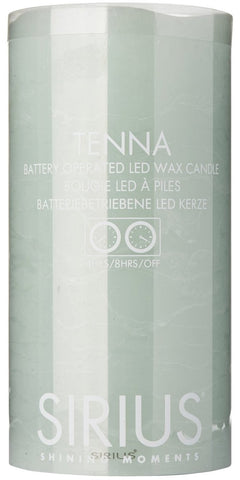 Tenna Real Wax Rustic Pillar with 4/8 Hour Timer, Mint (3 sizes)