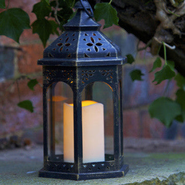 Outdoor Battery Operated Moroccan Lantern with Timer